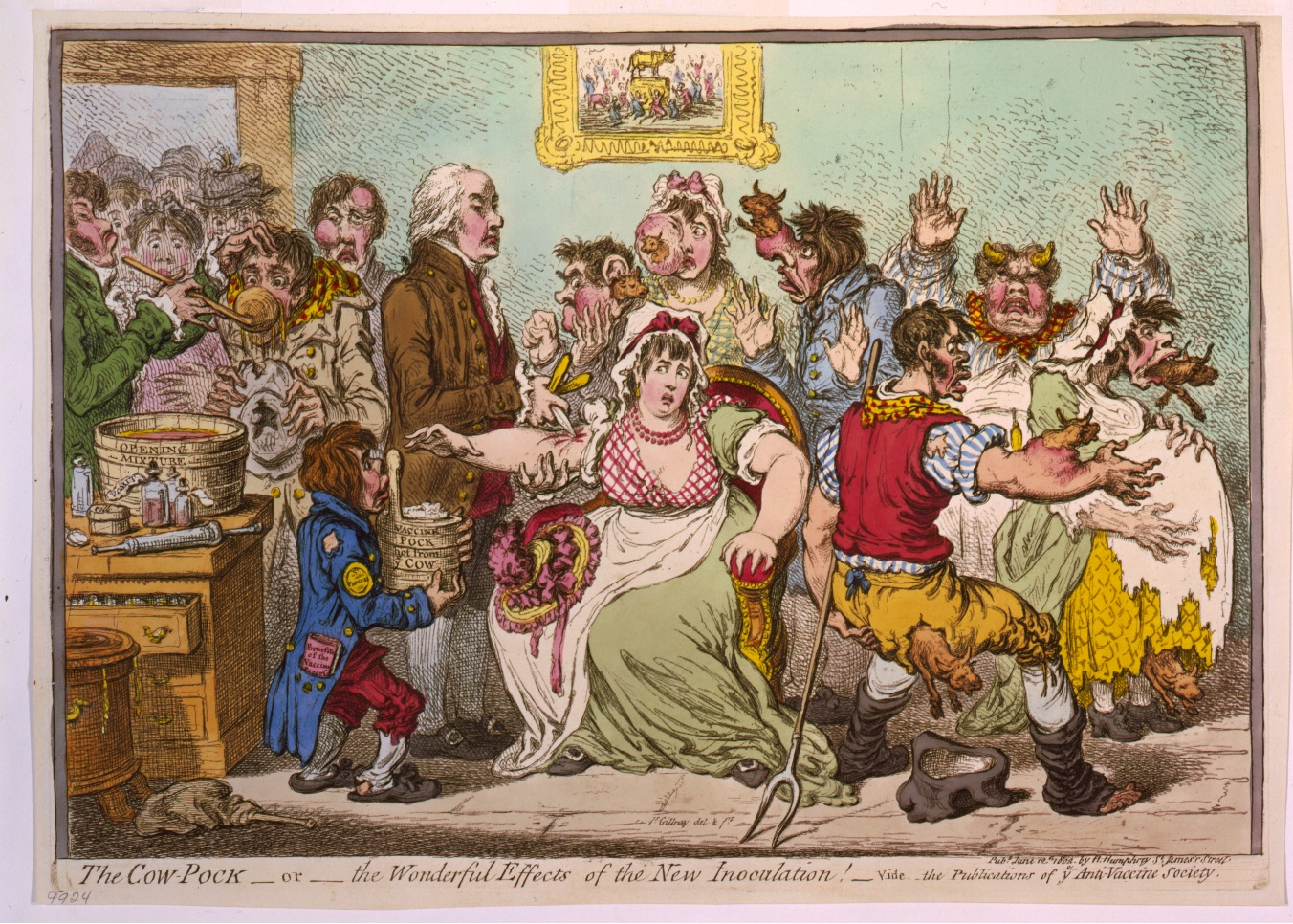 "Džeimss Gilrejs, karikatūra ""The Cow-Pock—or—the Wonderful Effects of the New Inoculation!"" (1802). Avots: ''Wikimedia Commons''"